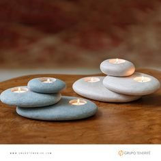 Stone Candle Holder Place a few Citronella Tea Lights for pretty bug-free seating! Stacked Stone Candle HolderPlace a few Citronella Tea Lights for pretty bug-free seating! Candle Holder Set, Tealight Candle Holders, Tea Light Holder, Concrete Candle Holders, Candle Stand, Stone Crafts, Rock Crafts, Stone Cairns, Dremel Projects