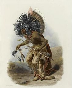 *Dance Leader of the Hidatsa Dog's Society. Karl Bodmer 1934 aquatint NY Public Library [Ewers, p.97] (another description adds Two Ravens?)