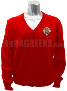 Red Chi Phi Sigma v-neck sweater with the crest on the left breast.