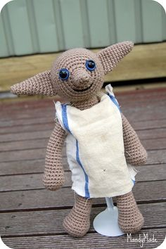 Dobby the house elf from Harry Potter. Pattern by Lucy Ravenscar
