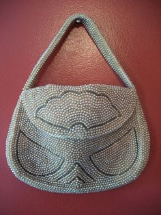 1950s beaded faux PEARL vintage purse