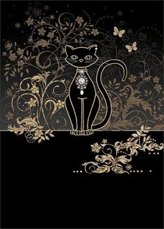 Vine Cat by Jane Crowther. Bug Art greeting cards.