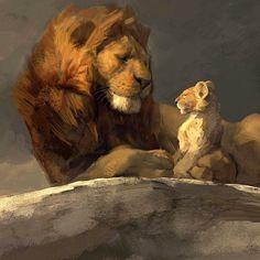 Concept mood piece of Mufasa and Simba on Pride Rock for Lion King movie Art by Lion King Simba, Lion King Movie, Disney Lion King, Arte Disney, Disney Art, Animal Paintings, Animal Drawings, Simba Rey Leon, The Lion Sleeps Tonight