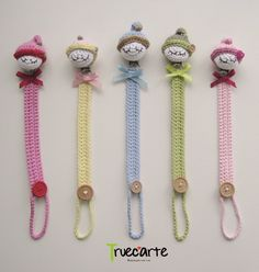 These are absolutely adorable Crochet Baby Toys, Crochet Gifts, Cute Crochet, Crochet For Kids, Baby Knitting, Crochet Pacifier Holder, Amigurumi Patterns, Crochet Patterns, Pencil Toppers