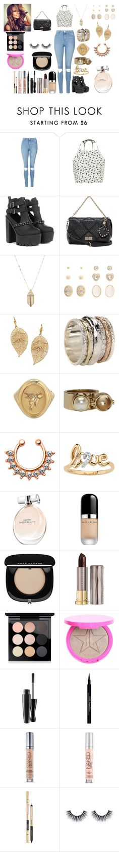"""""""Untitled #736"""" by asiebenthaler ❤ liked on Polyvore featuring Topshop, GUESS, House of Harlow 1960, Charlotte Russe, Palm Beach Jewelry, MeditationRings, Maison Margiela, Calvin Klein, Marc Jacobs and Urban Decay"""