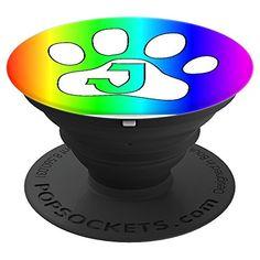 Letter J Initial Rainbow Paw Dog Cat Lover Monogram Gift  #cuteanimals  #cute #cutepopsocket #popsocket