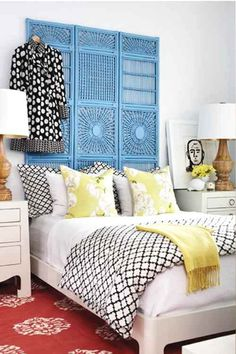 Painted bamboo screen headboard: House and Home Bamboo Headboard ; Bamboo Headboard, Headboard With Shelves, Headboard Decor, Headboard Designs, Blue Headboard, Painted Headboard, Turquoise Headboard, Bohemian Headboard, Room Divider Headboard