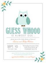 Pastel Teal Floral Owl Baby Shower Invitaiton