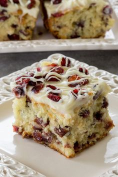Cranberry Bliss Coffee Cake - Moist Coffee Cake with White Chocolate, Cranberries and Cream Cheese Glaze is a perfect dessert for holidays, or any time of year.