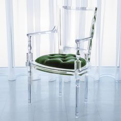 Marilyn Acrylic Arm Chair in Emerald Green by Global Views