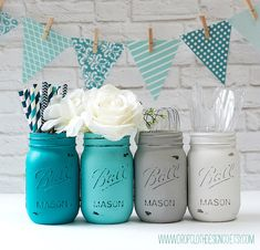Set of 4 pint size mason jars painted and distressed in teal, aqua blue, light gray, and white. Perfect for weddings and showers, centerpieces,