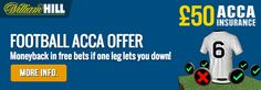 £50 ACCA OFFER: William Hill refunding losing football accumulators if 1 leg lets you down! #bookmakers #betting #offers