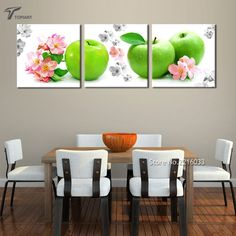Home Decor Wall Art Green Apple And Red Flower Wall Painting Kitchen Decor  Canvas Printings Real Photos Set Of 3 Panels NO Frame