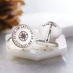 Personalised Silver Coordinates Cufflinks. Handmade in our studio from sterling silver, these stunning cufflinks feature the coordinates of your special chosen location (or locations) with a central compass design.