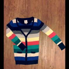 •forever 21 cardigan• This unique multicolored striped cardigan is by I LOVE H81. The cardigan is a long deep v neck with pockets on the front and buttons down the middle. Forever 21 Sweaters Cardigans