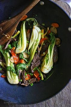 This quick stir-fry has some of my favorite foods; skirt steak, baby bok choy and zucchini plus carrots, scallions, garlic and ginger finished with a delicious sauce that has the perfect balance of savory, sweet, sour and spicy.  I wanted to make this a quick one-pot meal, so I loaded this up the veggies and skipped the rice. I adapted this from Jackie Ourman's recipe with some changes. I reduced the oil, added more veggies and changed the sauce because I wanted that salty, sweet, sour an...