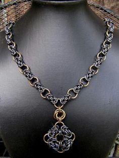 Necklace and pendant using byzantine