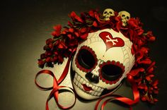 Pirate Love - Day of the Dead heart and Crossbones Skeleton sugar Skull Red and Black Dia De los Muertos Katrina mask