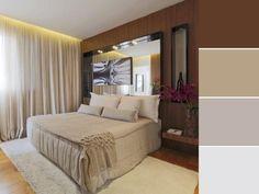 20 paletas de cores para quarto de casal para usar na decoração Home Design Decor, House Design, Home Decor, Double Room, Color Shades, Bed, Furniture, Closet, Bedroom Decor