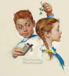 "Norman Rockwell, ""Mistletoe and a Milky Way,"" Norman Rockwell Prints, Norman Rockwell Paintings, Peintures Norman Rockwell, Famous Artists, American Artists, Belle Photo, Art And Architecture, Vintage Art, Art History"