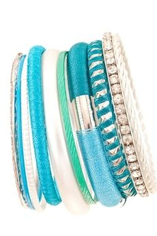 Turquoise Textured Rhinestone Silver Variety Stackable Bangles