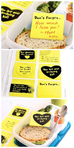 Free Lunchbox Printable Love Notes - Back To School Lunch Snacks, School Snacks, Box Lunches, Boite A Lunch, Lunch Box Notes, Lunch To Go, Love Notes, Kids Meals, Lunch Ideas