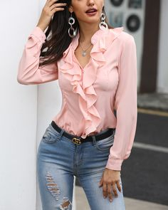 Solid Ruffles Design Long Sleeve T Shirt Women Color Pink Casual Tops Summer 2019 Elegant Ladies Blusas Mujer, Pink / XL Trend Fashion, Look Fashion, Fashion Outfits, Womens Fashion, Fall Fashion, Classic Fashion, Fashion Boots, Fashion Ideas, Kimono Tee