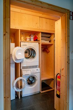 Washer and Dryer as well as generous space for ski wear in the mudroom Stacked Washer Dryer, Washer And Dryer, Ski Wear, Mudroom, Washing Machine, Home Appliances, Space, House Appliances, Floor Space