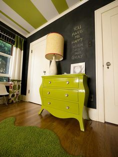 Nursery with Green Dresser - I like the curtain with three different fabrics!