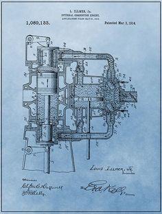 Engine Patent Blue