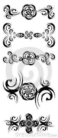 An amazing set of decorations with flowers in black. An idea also for logos or tattoo.