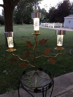 I went to an all town garage sale and found a bunch of fun candle holders to upcycle into solar light creations! You can see more of my crazy creations here H… Solar Light Crafts, Diy Solar, Diy Plate Rack, Wooden Trellis, Diy Planter Box, Citronella Candles, Solar Lamp, Garden Lamps, Jar Lights