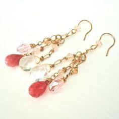 Pink & Gold Earrings  Long Dangle Elegant by ASimpleKindOfFancy. , via Etsy.