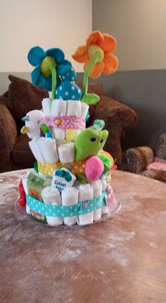 back view of diaper cake
