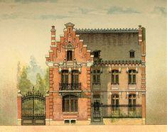 Фасады двухэтажных небольших домов из старинных архитектурных альбомов