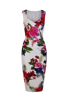 Ivory White and Multi Coloured Floral Print Bodycon Pencil Dress
