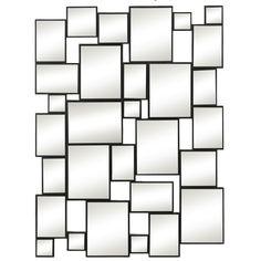 Majestic Mirror Stylish Rectangular Contemporary Black Finish Wood Wall Mirror