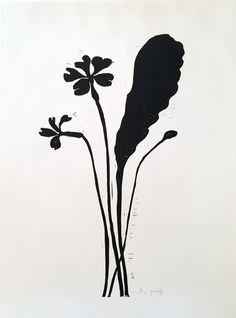 Primrose - Hand printed linocut on white velvet paper, by Hugo Guinness. Available at Wilson Stephens & Jones.