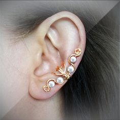 Gold Ear Cuff White Pearls 24K Gold plated Ear by ElectriccDreams USD 11.00