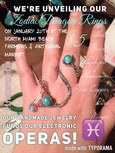 Help fund our 2018 production by purchasing our handmade jewelry on Jan. 20th or online! If you'd like to order this ring online, please email Liza at lizaseigido@msn.com. Rings are malleable and adjustable. $3 will be added to the price for shipping. We don't ship outside of continental USA. #psycheopera #psycheoperajewelry #electronicopera #fundraiser #maxmspjitter #zodiacsigns #dragons #birthstone #amethyst #rings #handmadejewelry #pisces #shells