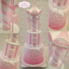 Now this was tall…standing 26 inches high in total!! Happy 1st Birthday Charlee! This carousel cake consisted of a double barrel (8 inches high) Jaffa mud bottom tier, an extended height (6 inches) white choc mud marbled pink and white middle tier...
