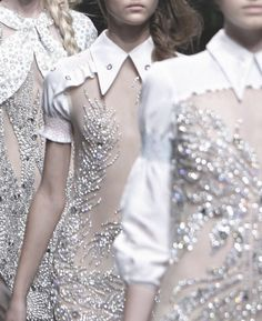 Sheer dresses with white trim and shimmering crystals // Miu Miu glam catwalk show