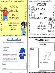 Vocal Devices - a page from the students workbook/worksheets. Teacher information pages/slides , a listening activity and quiz are also included in this resource.
