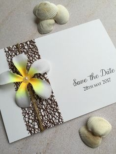 Frangipani save the date cards. Perfect for the beach or destination wedding. Www.facebook.com/invitationdesigncompany