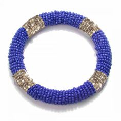 Cobalt Bead Wrapped Bangle/ would love as a wreath also
