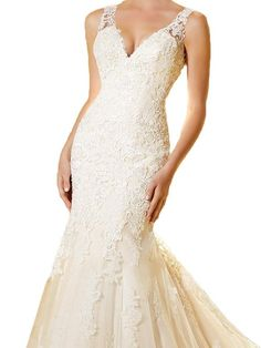 Tsbridal V-Neckline Backless Lace Mermaid Wedding Gown at Amazon Women's Clothing store: