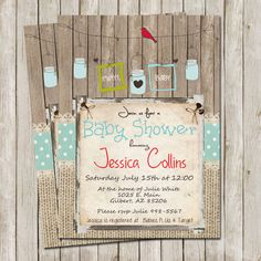 Rustic Baby Shower Invitation Digital file by WallflowerEvents