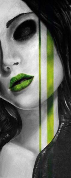 """Riwal Pacquentin, acrylique sur toile, """"vert mel"""" 50x100cm"""