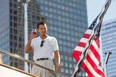 Leonardo DiCaprio on his boat in 'The Wolf of Wall Street