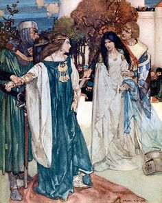 """And so all the people that were there present gave judgment  ... """"Le morte d'Arthur"""" (1910-11) illustrated by William Russell Flint"""